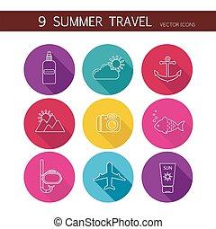 zomer, reizen, set, vector., iconen