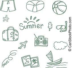 zomer, reizen, vector, doodle