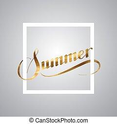 zomer, retro, etiket