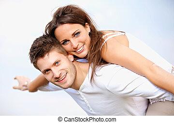 zomer, romantisch paar, vakantie, hun, het genieten van