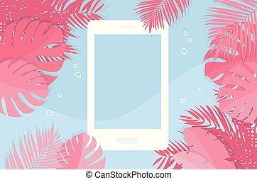 zomer, saver-, tropische , telefoon, vector, achtergrond