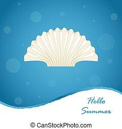 zomer, schaal, zee, ontwerp, achtergrond, bijzondere