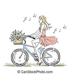 zomer, schattig, lente, manden, tijd, elegant, fiets, floral, paardrijden, meisje, of