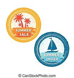 zomer, scheepje, aanbod, verkoop, palmen