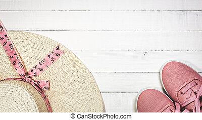 zomer, schoentjes, zet op het strand vakanties, vrouwen, hoedje