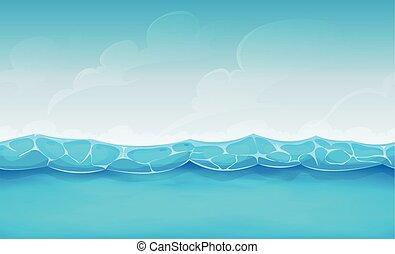 zomer, seamless, oceaan, spel, ui, achtergrond
