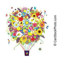 zomer, seizoen, concept, lucht, balloon, met, bloemen, voor, jouw, ontwerp