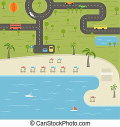 zomer, seizoen, zet op het strand vakantie, illustratie