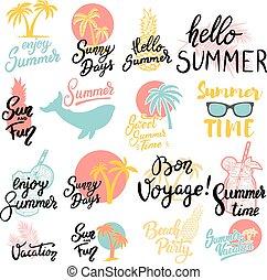 zomer, set, card., poster, lettering, uitdrukkingen, groet, illustratie, hand, achtergrond., vector, ontwerp, getrokken, emblems., witte , element