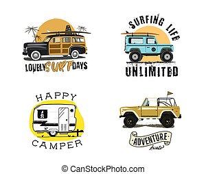 zomer, set, elements., ontwerp, logo, fun., web, ouderwetse , -, emblems, hipster, templates., branding, activiteit, surfer, grafiek, waves., print., instappen, badges., insignias, surfing, surfboard, vector, buitenshuis, of