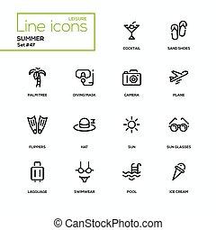 zomer, set, iconen, -, conceptontwikkeling, lijn