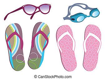 zomer, set, iconen, doodle, vakantie, verzameling, thema,...