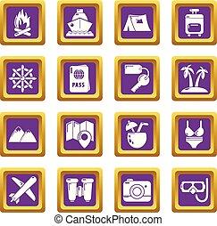 zomer, set, iconen, paarse , reizen, vector, plein