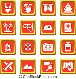 zomer, set, iconen, reizen, vector, plein, rood