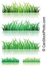zomer, set, lente, groen gras, of