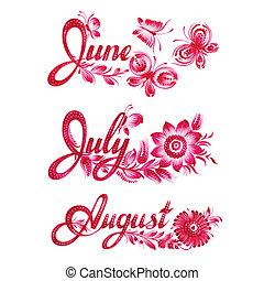 zomer, set, naam, maand