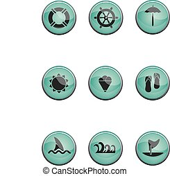 zomer, set, reizen, icons., vacations., vector