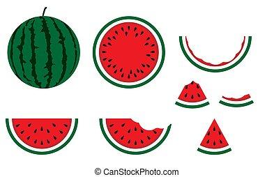 zomer, set, rijp, smakelijk, heerlijk, snede, agriculture., concept., vrijstaand, tropische , achtergrond., voedingsmiddelen, dessert, illustratie, fruit, watermeloen, vegan, eten, nutrion, natuurlijke , vegetariër, vector, bes, vitamin., nature.