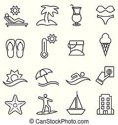 zomer, set, strand, pictogram