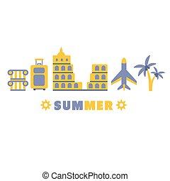 zomer, set, symbolen, vijf, lijn, sightseeing