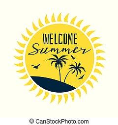 zomer, silhouette, zon, welkom, etiket, strand