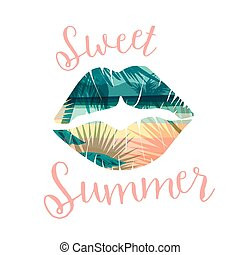 zomer, slagzin, t-shirts, tropische , anderen, affiches, afdrukken, uses., strand, kaart