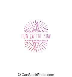 zomer, slagzin, zon, vrijstaand, hand, white., plezier, getrokken