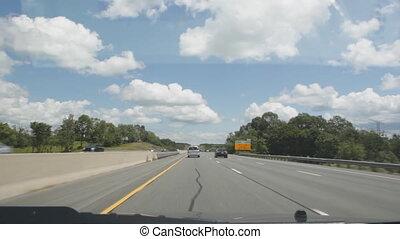 zomer, snelweg, driving.