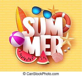 zomer, spandoek, ontwerp, met, 3d, tekst, titel, en, kleurrijke, tropisch strand, communie