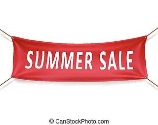 zomer, spandoek, verkoop