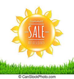 zomer, spandoek, verkoop, zon