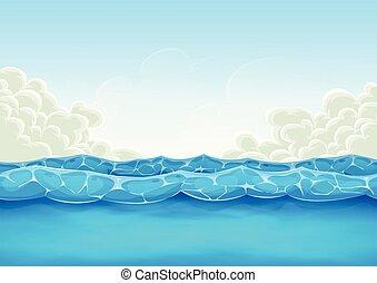 zomer, spel, ui, achtergrond, oceaan