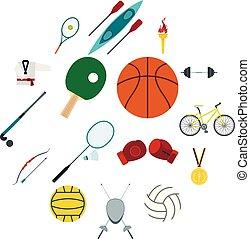zomer sport, set, plat, iconen