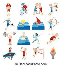 zomer sport, set, spotprent, iconen