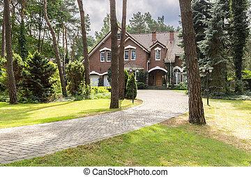 zomer, steen, fiscale woonplaats, engelse , middelbare , bos, walkway, baksteen, rood