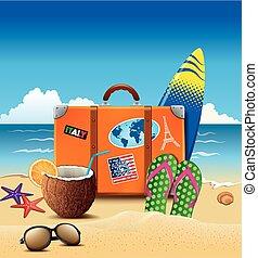 zomer, sticker, zonnebrillen, cocktail, tik-zwaait, koffer, vakantie, strand, cocosnoot