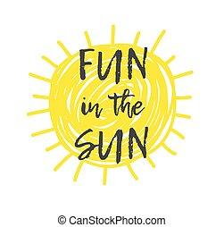 zomer, stijl, doodle, quote., systeem, illustratie, hand, voorwerpen, sun., gele, zonne, zon, plezier, getrokken, element, tekst, positief