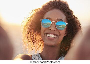 zomer, stijl, weerspiegelen, strand, haar
