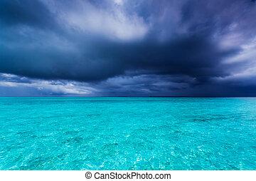 zomer, storm, gedurende, regen, seizoen, in, tropen
