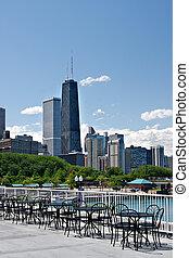 zomer, straat, aanzicht, bovenkant, chicago