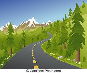 zomer, straat, berg