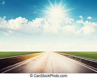 zomer, straat, hemel, zon, en, wolken