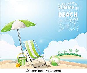 zomer, strand, achtergrond