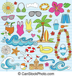 zomer, strand, hawaiian, doodles