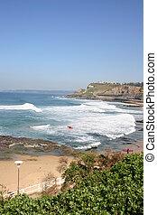 zomer, strandscène, op, newcastle, strand, australië