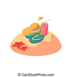 zomer, stro hoed, scène, zand strand