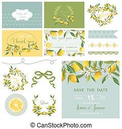 zomer, tags., bloem, citroen, illustration., elements., set., vector, ontwerp, trouwfeest, plakboek