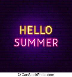 zomer, tekst, neon, hallo, etiket