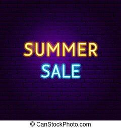 zomer, tekst, neon, verkoop, etiket