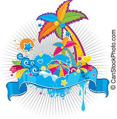 zomer, thema, spandoek, oceaan